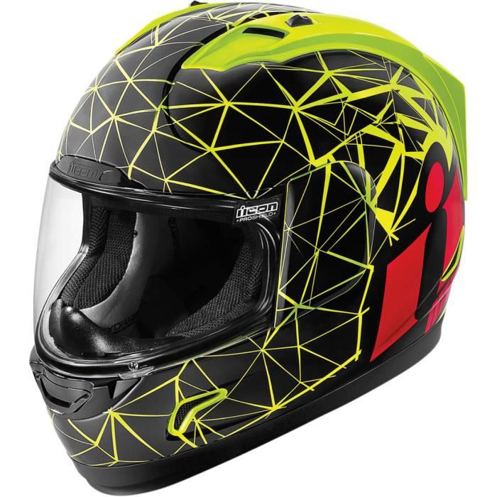 casque moto icon alliance crysmatic jaune fluo noir rouge achat vente casque moto scooter. Black Bedroom Furniture Sets. Home Design Ideas