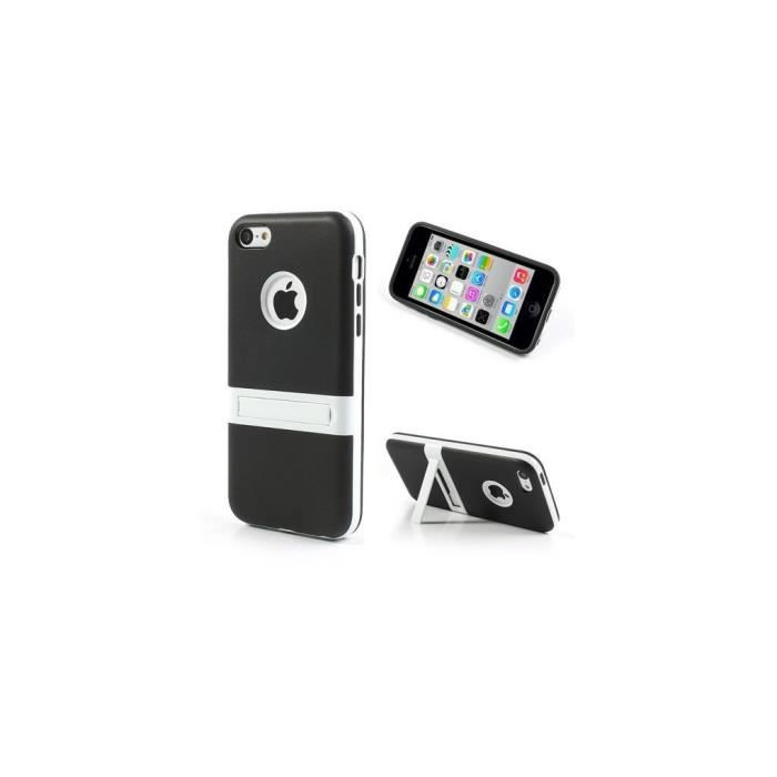 coque iphone 5c silicone hybride noir