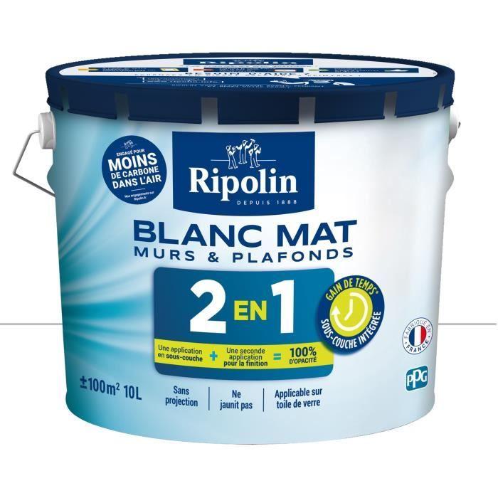 Ripolin Peinture Blanche Pour Murs Et Plafonds Avec Sous Couche Intégré Blanc Mat 10 L