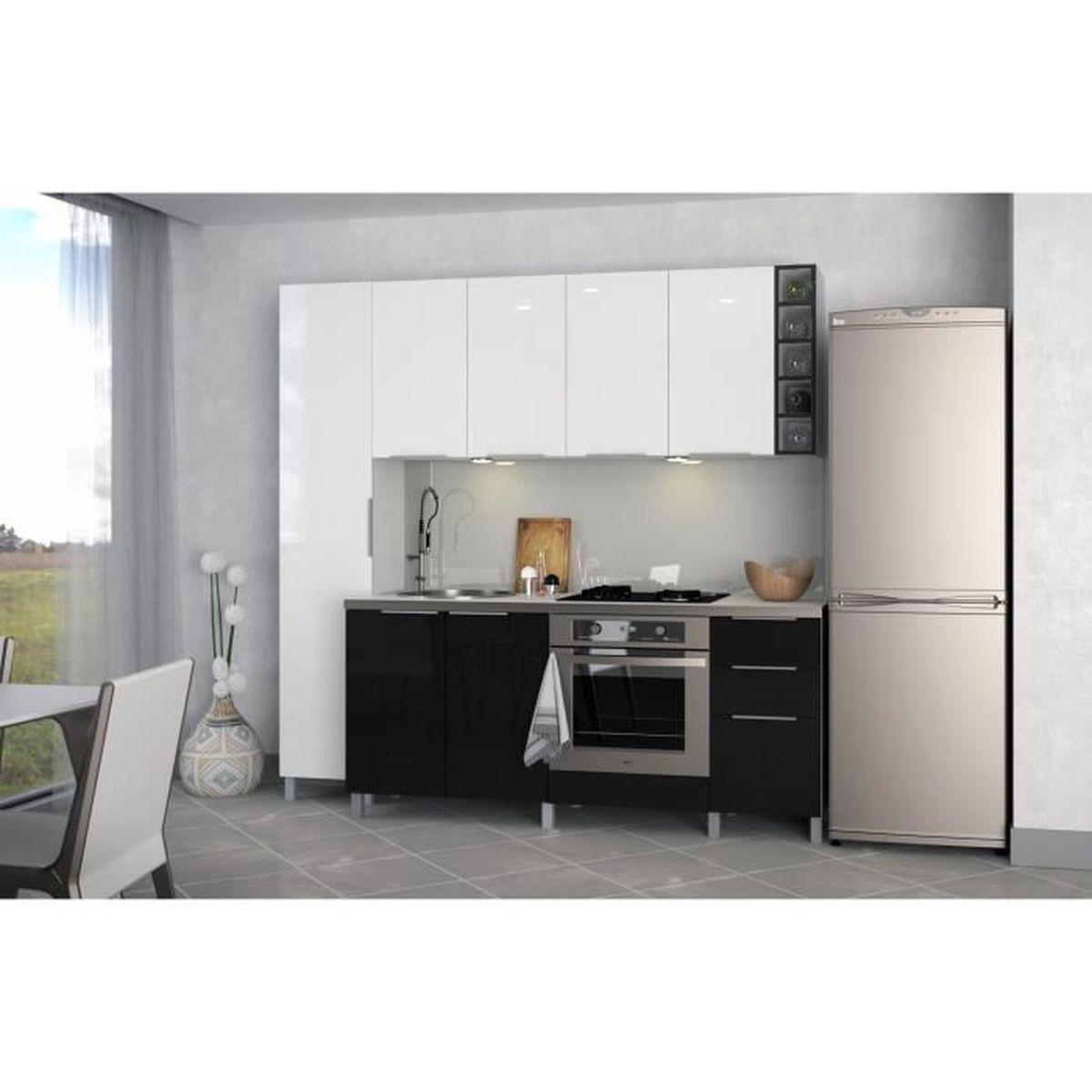 Meuble Bas De Cuisine Noir Laqué meuble de cuisine bas sous évier - 80cm - noir - Élément séparé