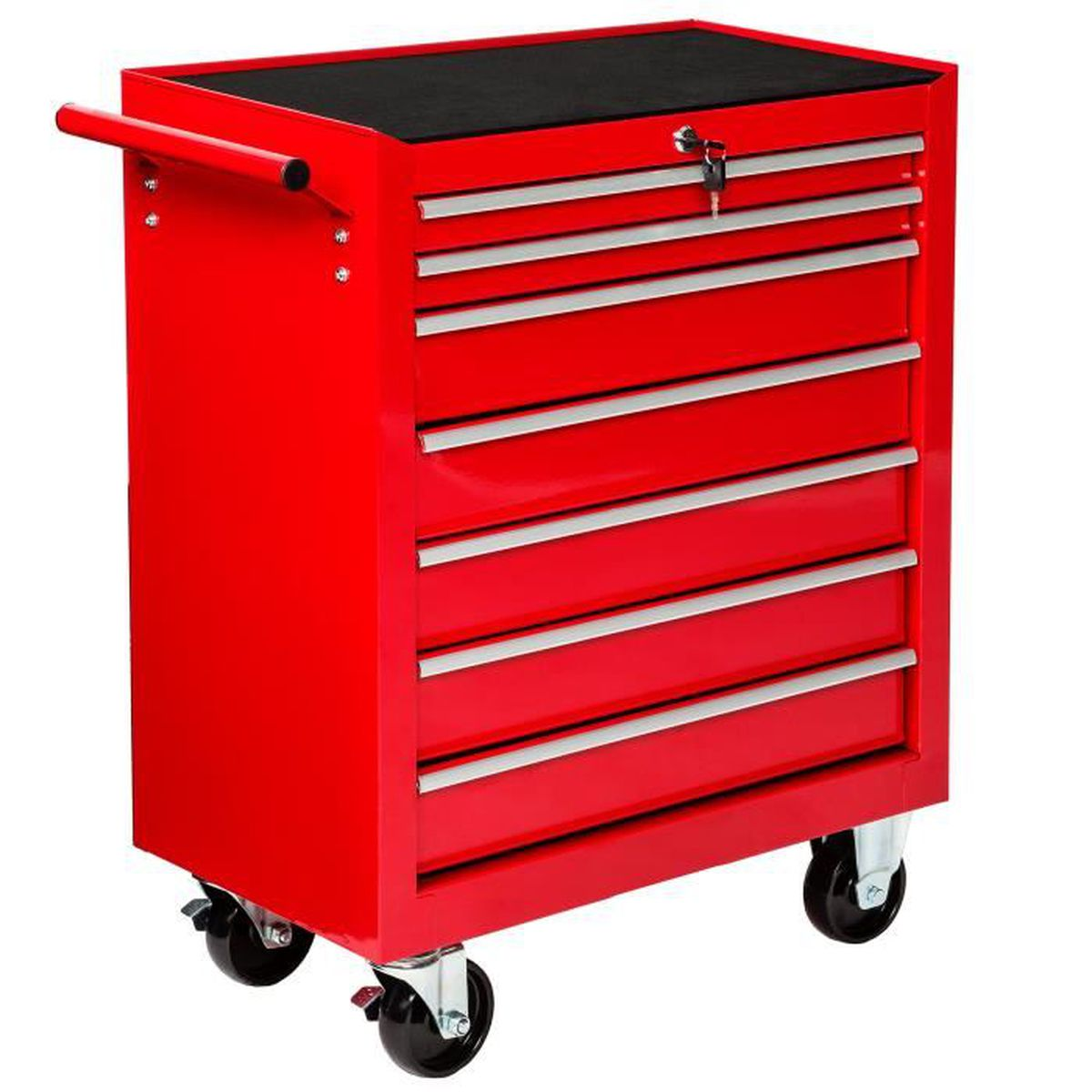 servante d atelier chariot outils avec 7 tiroirs 69 cm x 33 cm x 79 cm rouge tectake achat. Black Bedroom Furniture Sets. Home Design Ideas