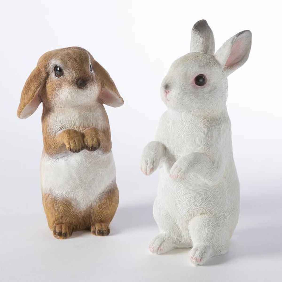 Lot de 2 lapins figurine d co jardin en r sine poser ou for Decoration jardin lapin