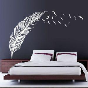 STICKERS Nouvelle Chambre de Plume Autocollant Mural Oiseau
