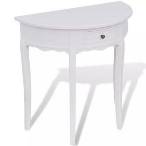 TABLE D'APPOINT Table console avec tiroir Demi-ronde Blanc