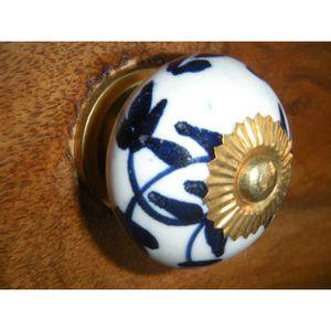 POIGNÉE - BOUTON MEUBLE Boutons en porcelaine couronne fleurs outremer ou