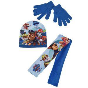 BONNET - CAGOULE Ensemble bleu bonnet+gants+écharpe La Pat Patrouil