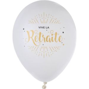 BALLON DÉCORATIF  Ballon Vive la retraite Or x8