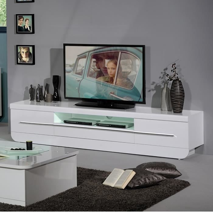 floyd banc tv 220 cm laqu blanc achat vente meuble tv. Black Bedroom Furniture Sets. Home Design Ideas