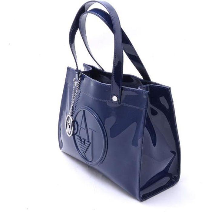 ARMANI JEANS Sac shopping femme Bleu 80% POLYESTER, 20% VISCOSE 30X23X12 CM