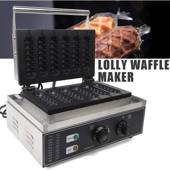 Machine à gaufres antiadhésive commerciale Hot Dog - En acier inoxydable - Gaufrier professionnel - Avec manche - 1500 W