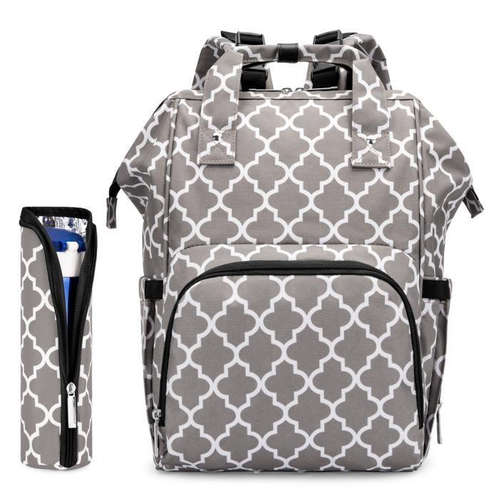 grand sac à couches sac à dos sac à langer, sac à dos de voyage étanche multifonction Port de charge USB intégré soins de bébé
