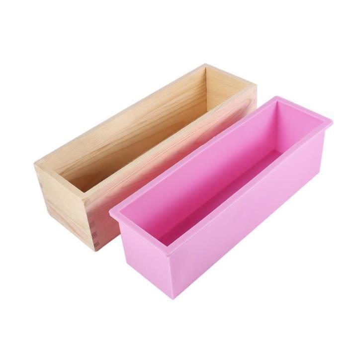 BOYOU Moule à savon rectangulaire de silicone avec boîte en bois pour la fabrication de savon