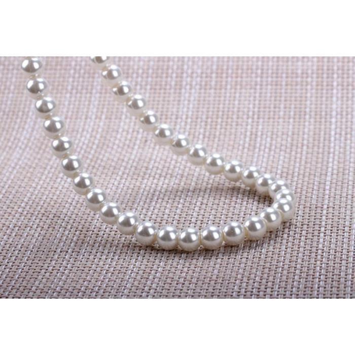 Collier De Perles Blanches De_argent