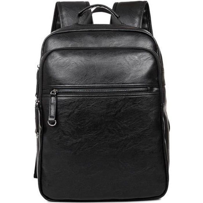 Sac à Dos,Sac à dos hommes sac à dos hommes sacs à dos en cuir pour adolescents concepteur de luxe - Type black