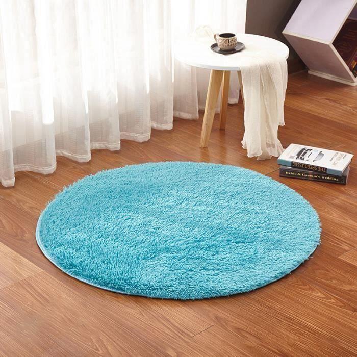 Rond Tapis de Sol En Velours Yoga Chambre 60cm BLEU Bo13337