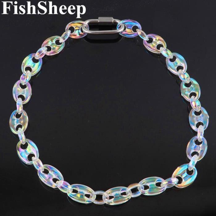 collier en acrylique coloré en grains de café pour hommes et femmes, chaînes transparentes Hip Hop, ras du cou B77608706