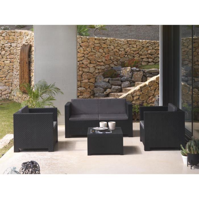 Figari - Salon bas de jardin 4 places - en résine tressée injectée - noir avec coussins gris Couleur - Noir