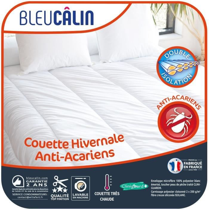 BLEU CALIN Couette Hivernale Anti-Acariens - 220 x 240 cm - Blanc