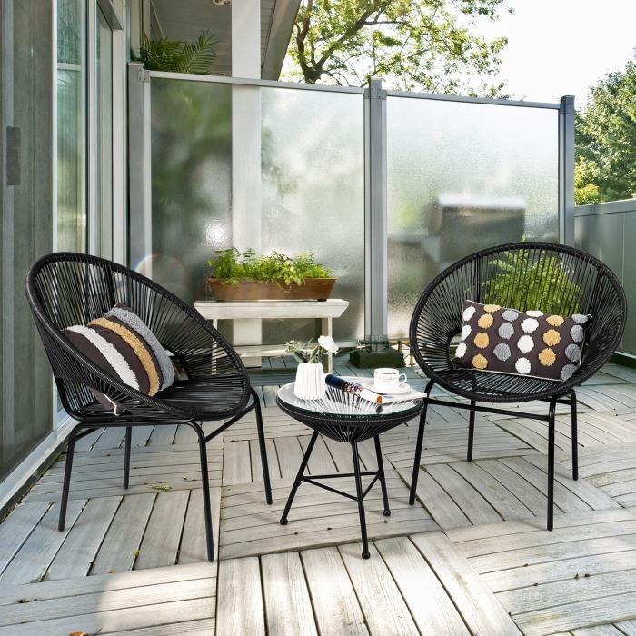 COSTWAY Ensemble de jardin 3 pièces 2 chaises t 1 Table en Verre Trempé et en Rotin PE pour Terrasse, Pelouse, Jardin, Cour, Noir