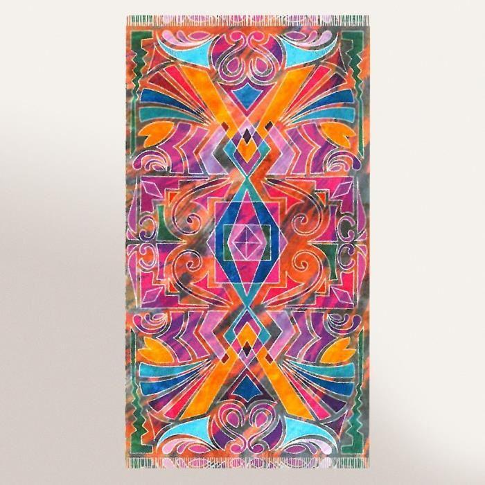 Drap de plage Fouta 100x180 cm 100% coton 270 g/m2 IZOLA tribal multicolore