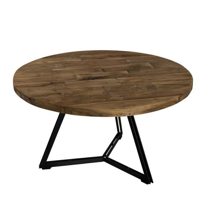 Table basse ronde en bois teck + pieds en métal - Noir - Style industriel - Ø 75 cm