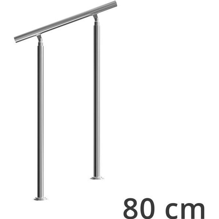 Rampe d'escalier 80 cm acier inoxydable sans traverse main courante balustrade garde-corps aide escalier balcon intérieur extérieur