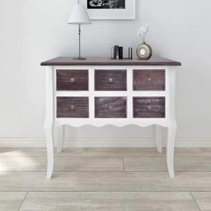 Armoire de chambre Meuble de rangement avec 6 tiroirs Marron et blanc Bois 80 x 36 x 79 cm