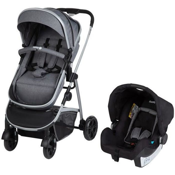 SAFETY FIRST Duo Hello 3en1 (Convertible Nacelle Non Securitaire)+ Cosi + Adaptateurs Cabriofix Et Citi Black Chic