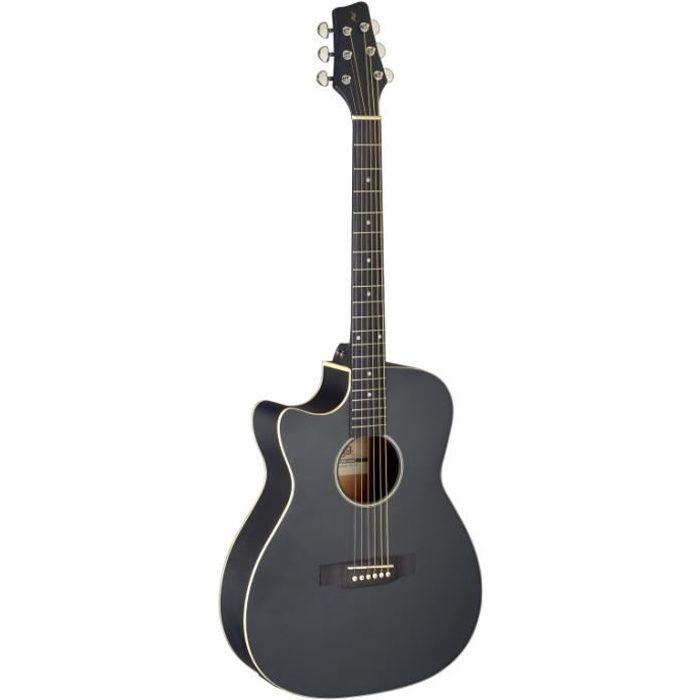 Guitare auditorium électro-acoustique avec pan coupé, noir, modèle gaucher