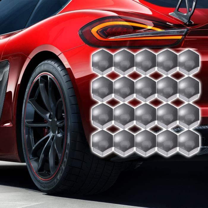 Couvre-écrous de roue hexagonale 21 en 1 Couvre-boulons Couvre-vis Protège-vis 17 mm avec clips (Gris) KIT D'HABILLAGE INTERIEUR