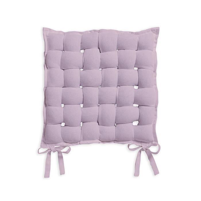 Assise tressée CEREMONY 40x40 coton Poudre le Lila