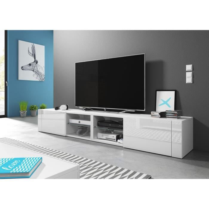 VIVALDI Meuble TV - Hit 2 DOUBLE - 200 cm - blanc mat / blanc brillant sans LED - style design