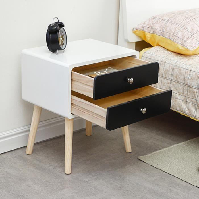 Laizere Tables De Chevet Avec 2 Tiroirs Noir Et Blanc Style