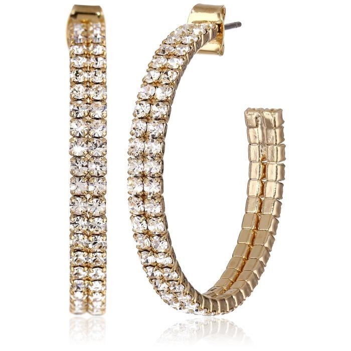 Crystal Set Plated Double Row 35mm Hoop Earrings FPX36