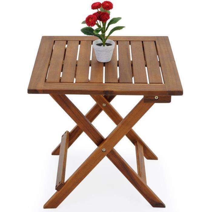 Table de jardin en bois pliable 46 x 46 x 46 cm - Achat ...