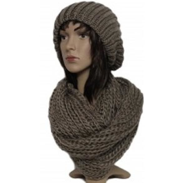 Ensemble snood écharpe + bonnet femme marron taupe Marron - Achat ... 06e52b41190