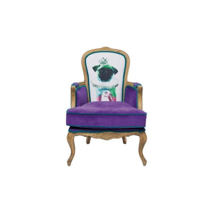 Fauteuil villa grandfather mops violet kare design achat vente fauteuil v - Fauteuil design violet ...