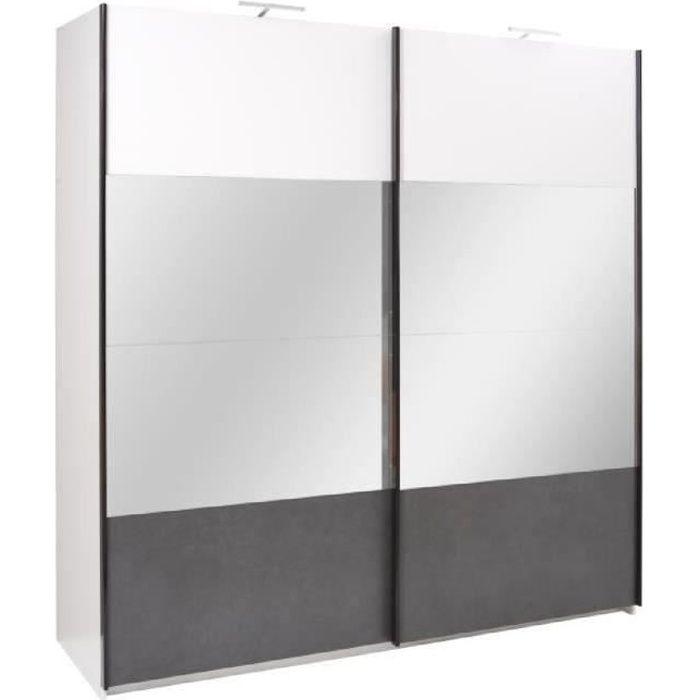 PRICE FACTORY - Armoire design RENATO 2 portes coulissantes avec miroirs,  garde robe pour chambre à coucher, dressing, penderie