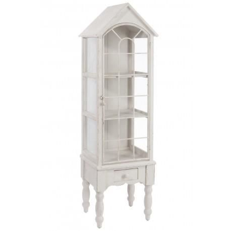 vitrine romantique en bois blanc 42 7x35 5x146 achat vente vitrine argentier vitrine. Black Bedroom Furniture Sets. Home Design Ideas
