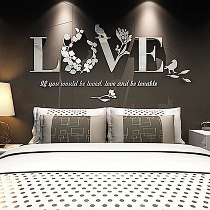 Sticker mural home decor, Stickers muraux salon amovibles, Stickers chambre  adulte, Stickers muraux miroir salon [Love Blanc]