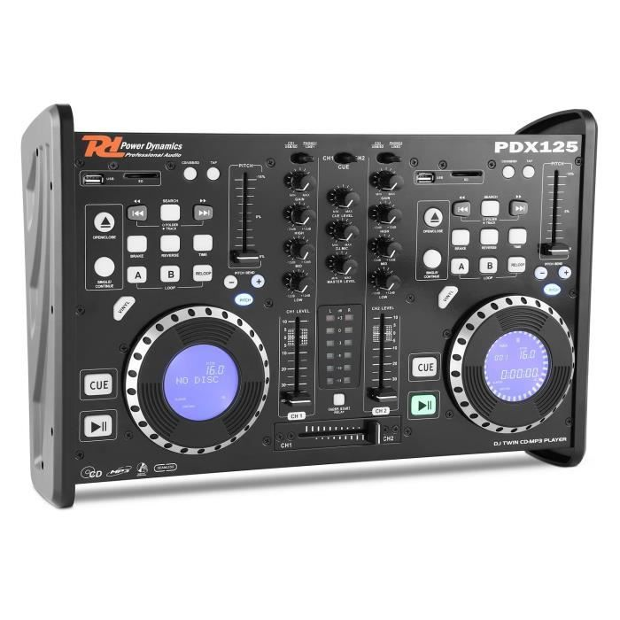 power dynamics pdx125 table de mixage controleur 2 canaux lecteur
