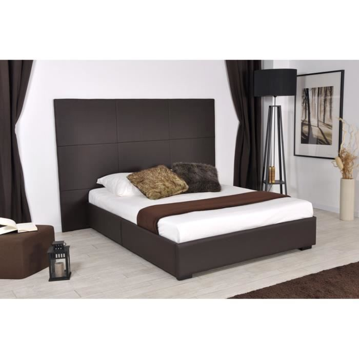 lit design 140x190 cm marron elora achat vente structure de lit lit design 140x190 cm marro. Black Bedroom Furniture Sets. Home Design Ideas