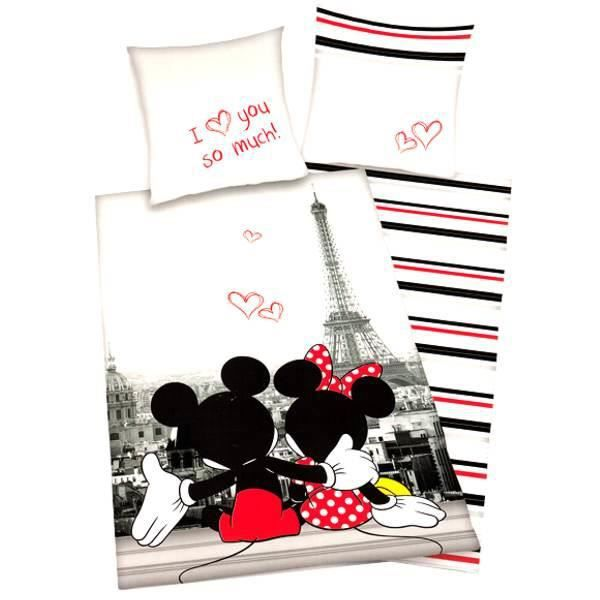 parure de lit enfant mickey minnie achat vente parure de couette cdiscount. Black Bedroom Furniture Sets. Home Design Ideas