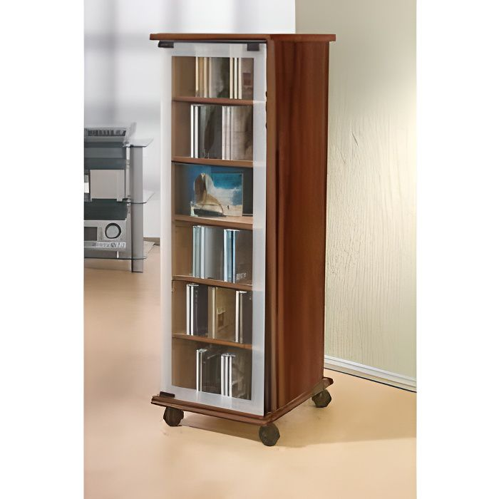 valenza tour rangement biblioth que cd dvd rotative 300 cd sonoma noyer achat vente commode. Black Bedroom Furniture Sets. Home Design Ideas