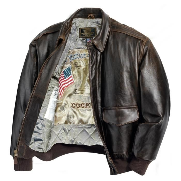 blouson aviateur en cuir a 2 antique lamb cockpit usa ex avirex marron achat vente blouson. Black Bedroom Furniture Sets. Home Design Ideas