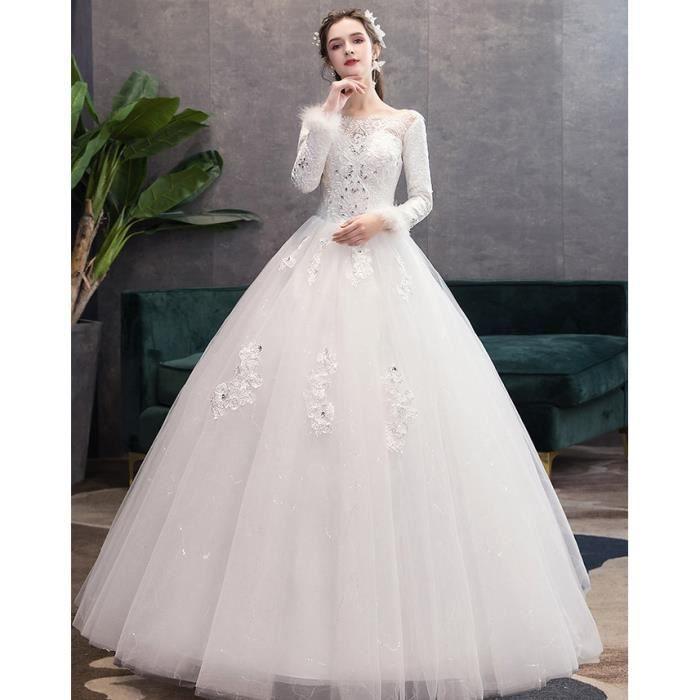 Robe de Mariée Femme Tulle Princesse Manches