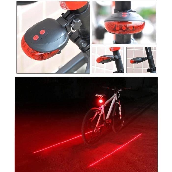 Cyclisme Bicyclette Vélo arrière de sécurité avertissement 8 DEL 2 Laser Clignotant Lampe