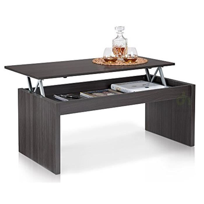 table basse fr ne brillant avec plateau relevable 100 x 50 x 43 cm achat vente table basse. Black Bedroom Furniture Sets. Home Design Ideas