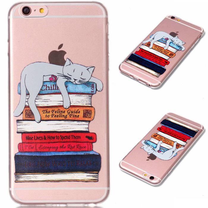 chat et livre coque pour apple iphone 6 plus 6s