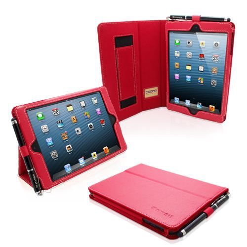 snugg housse ipad mini cuir rouge fonction su prix. Black Bedroom Furniture Sets. Home Design Ideas